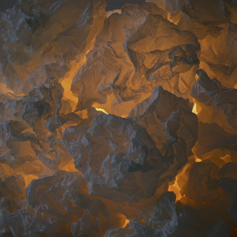 Detalje af papirskulptur med lys